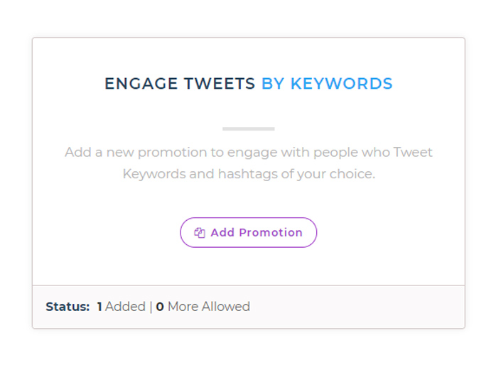 tweetfull create keyword promotions