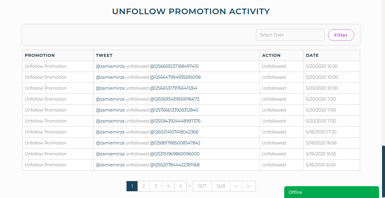 tweetfull unfollow promotion activity.